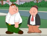 Annie, after Bell's Palsy, with her friend, Peter Griffin.  (She's the one on the right.)