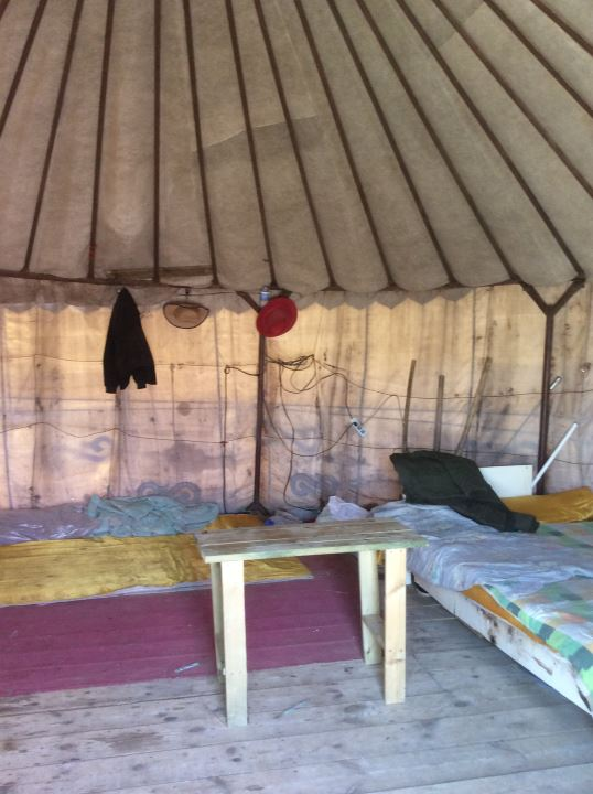 The inside of a traditional yurt.